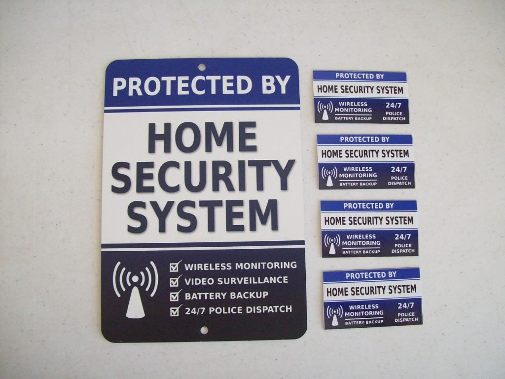 Details About Home Security Alarm System Yard Sign 4 Window Stickers Stock 713